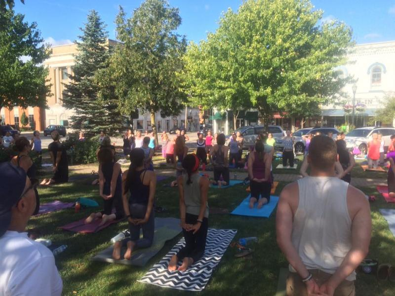 teaching yoga in the park